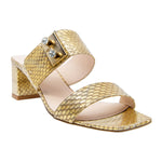 Paris Metallic Elaphe Block Heel Slides