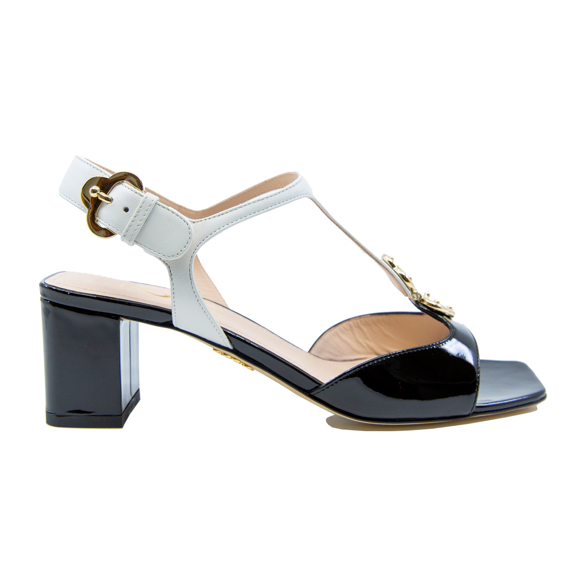 Two Tone Block Heel Sandals