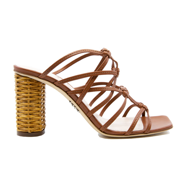 Caged Leather Slides with 85mm Wicker Heel