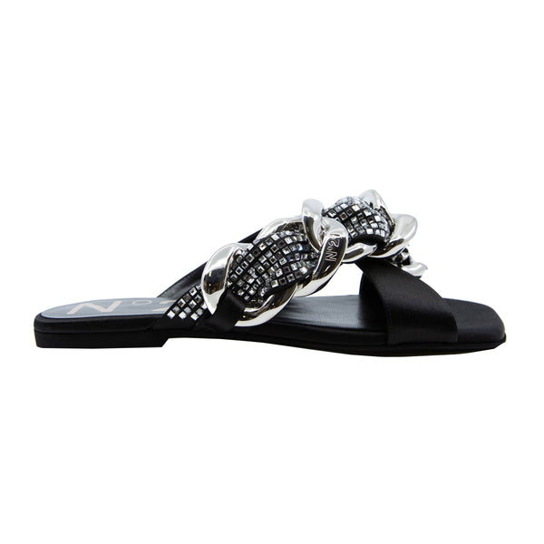 Crystal Chain Satin Flat Slides