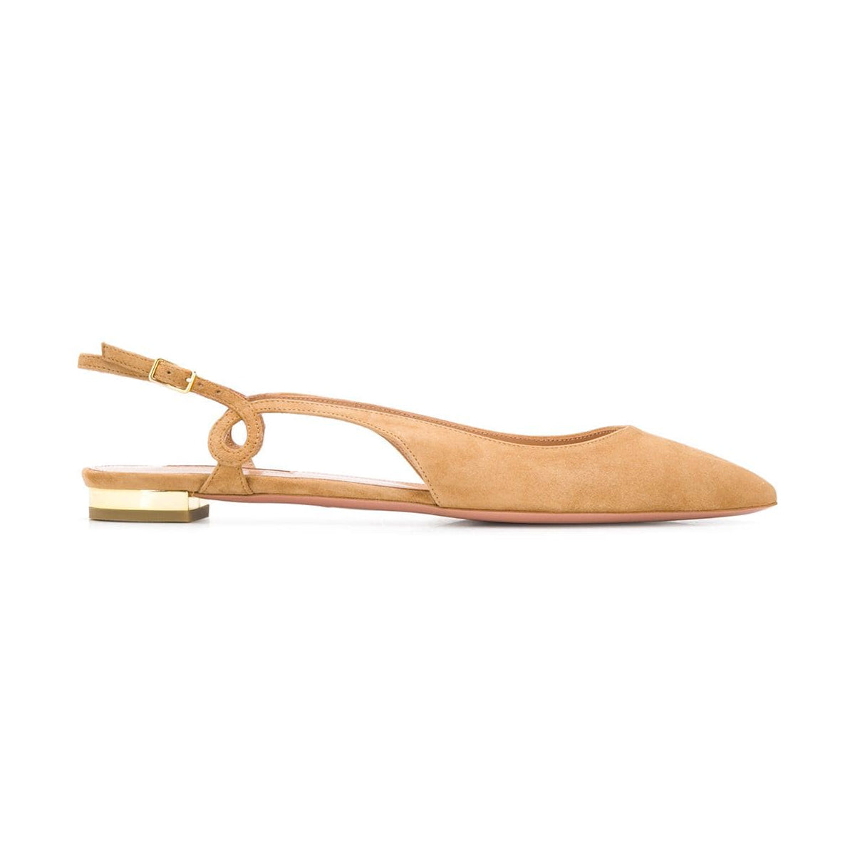 Serpentine Point Toe Slingback Suede Flats