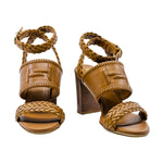 Block Heel Wrap Stitch Sandals