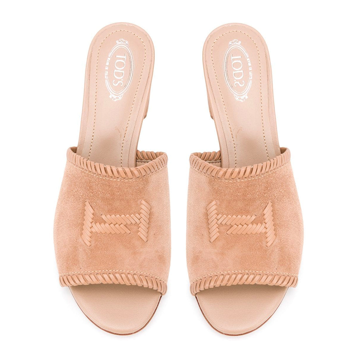 Double T Suede Block Heel Slides