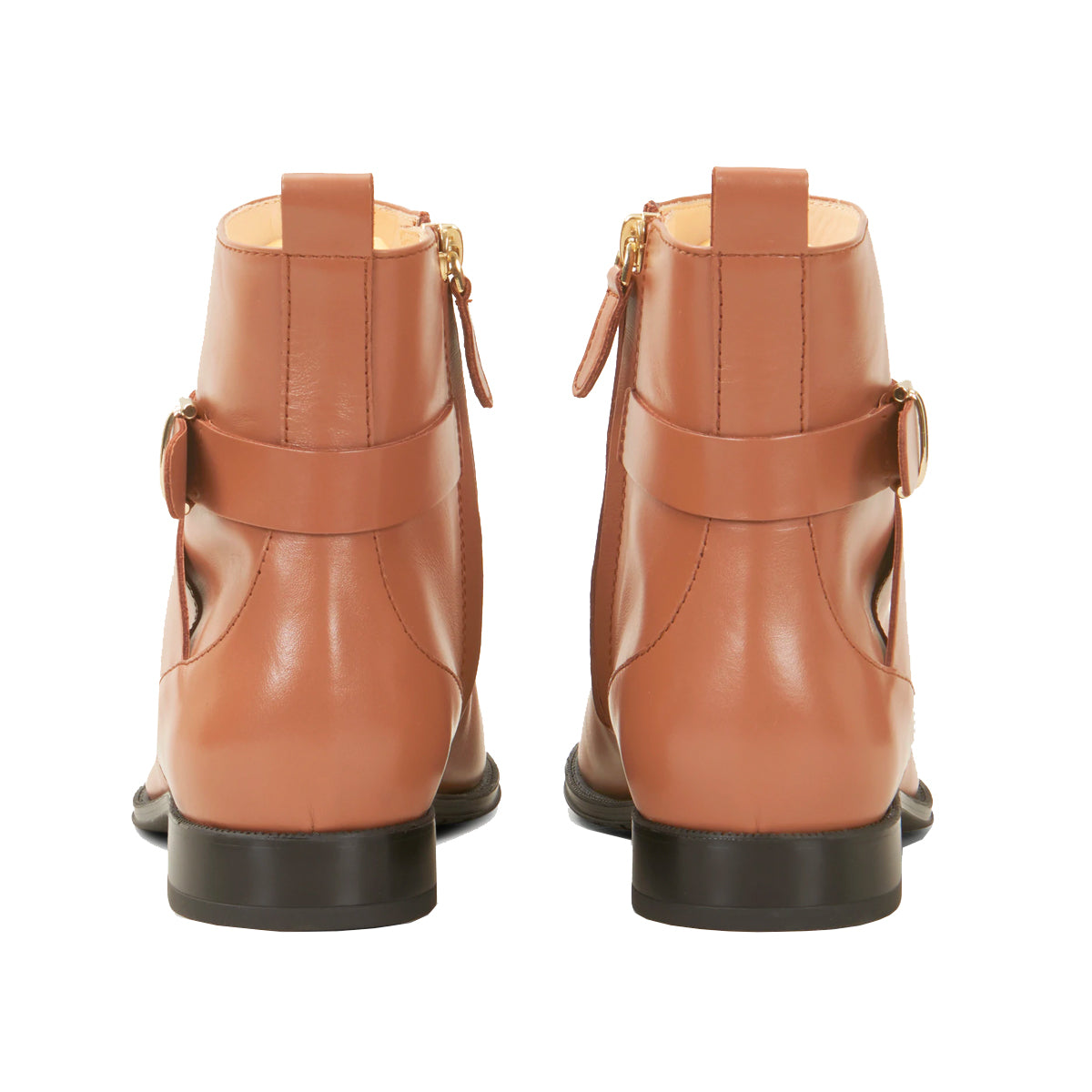 Zip Up Flat Rubber Sole Ankle Boots