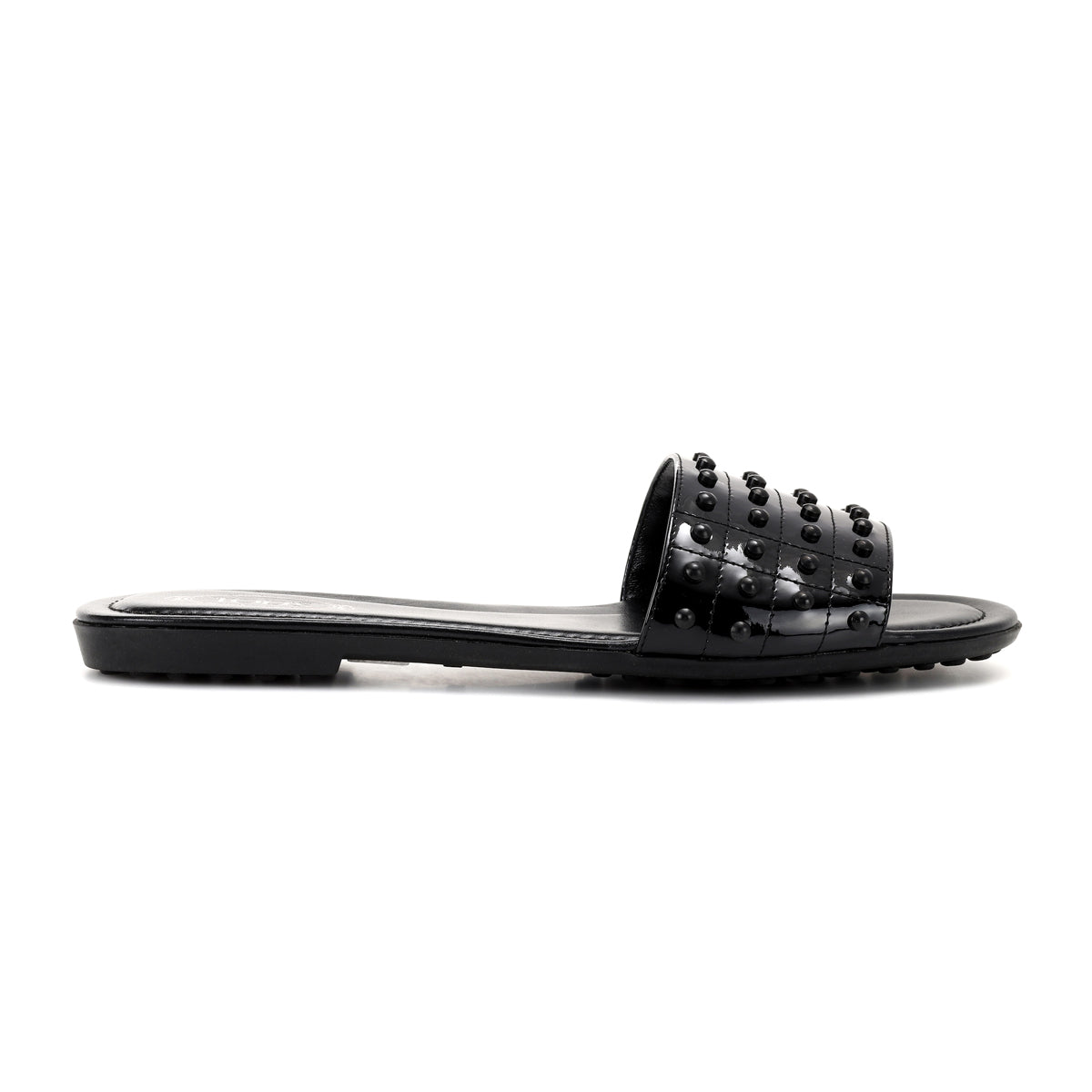 flat leather slides with gommini studs