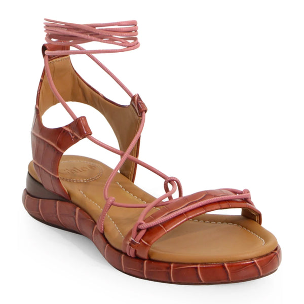 Wave Wraparound Croc Effect Sandals