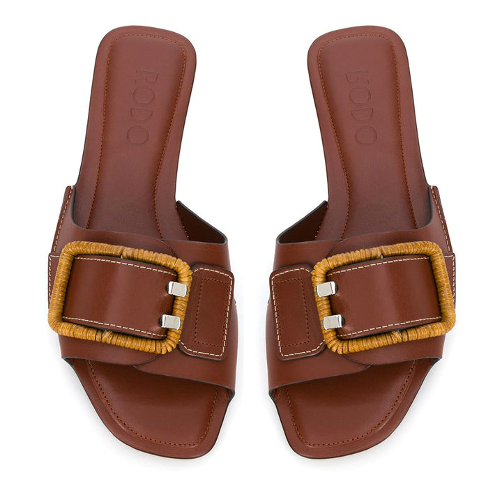 Wicker Buckle Classic Leather Slides
