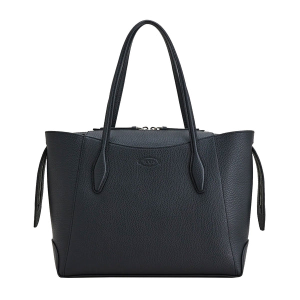 Medium Leather Zip Top Shopping Bag