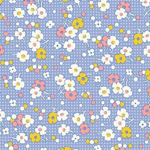 Henry Glass Nana Mae Floral Dot Blue Cotton Quilt Fabric