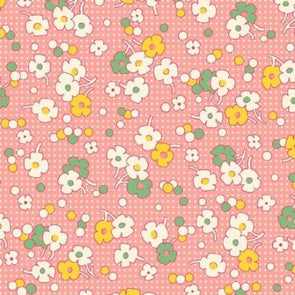 Henry Glass Nana Mae Floral Dot Pink Cotton Quilt Fabric