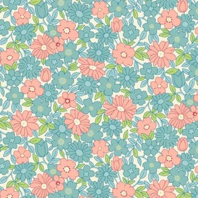 Henry Glass Nana Mae Large Daisy Aqua Cotton Quilt Fabric
