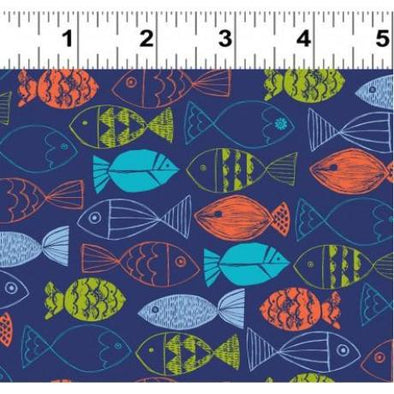 nautical fish mixed fish on blue cotton quilt fabric