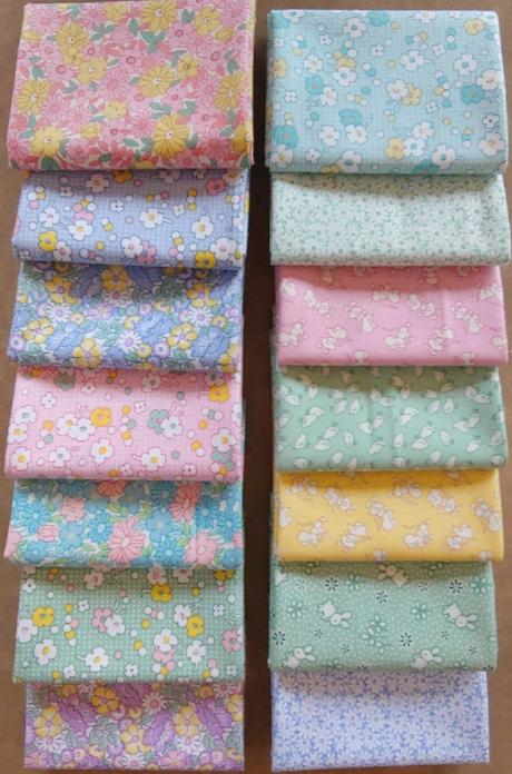 Henry Glass Nana mae II pastel fat quarter bundle cotton quilt fabric