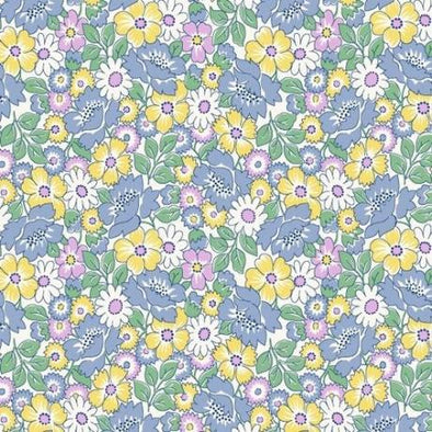 Henry Glass Nana Mae Packed Floral Blue Cotton Quilt Fabric