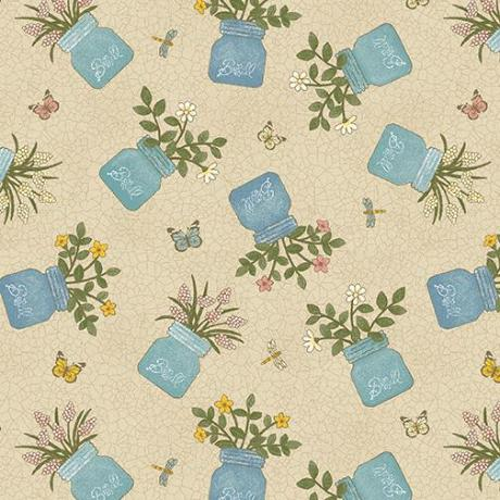 Benartex my secret garden charm mason jars on cream cotton quilt fabric