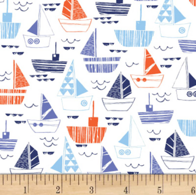 nautical fish sailboats on white  cotton quilt fabric