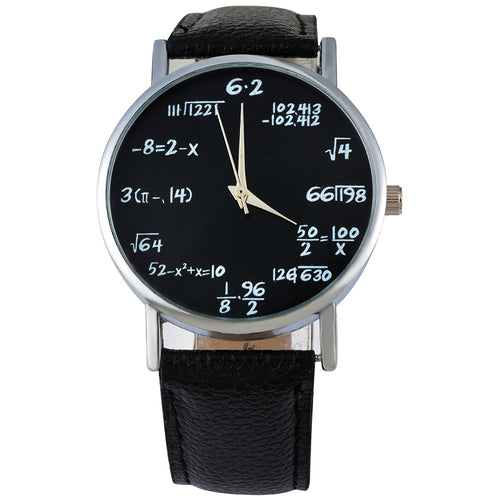Doreen Box PU Leather Simple Luxury Quartz Wrist Watches Student Round Mathematical Formula Black Battery Included 24cm, 1 Piece