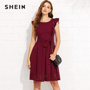 SHEIN Maroon Elegant Ruffle Shoulder Flounce Trim Laser Cut Out Hem Belted Natural Waist Dress Summer Women Weekend Casual Dress