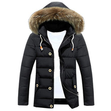 Plus Size M-3XL Mens Thicken Winter Down Coat Fur Collar Fleece Cotton Padded Jackets Men Hooded Parka Comfortable Outwear