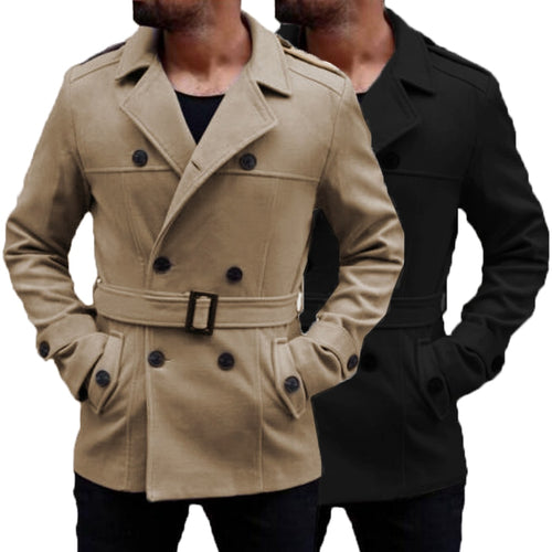 Warm Winter British Outwear Men's Trench Long Coats Wool Coat Turn-Down Collar Double Breasted Slim Fit Fashion Jackets Male
