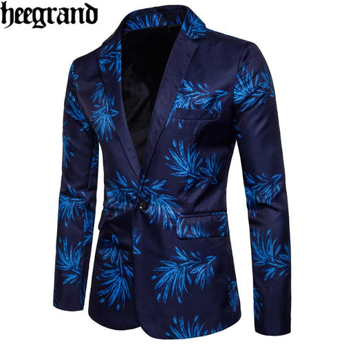 HEE GRAND 2018 Single Button 2 Colors Solid High Quality New Men Long Sleeve Slim Size Flower Suit MWX418