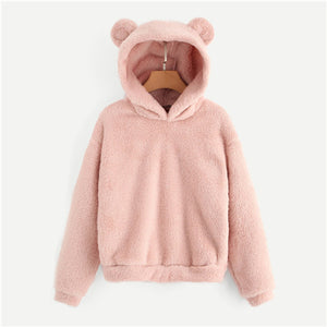 SHEIN Pink Preppy Lovely With Bears Ears Solid Teddy Hoodie Pullovers Sweatshirt Autumn Women Campus Casual Sweatshirts