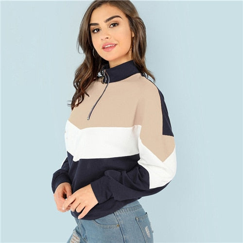 SHEIN Multicolor O-Ring Zip Front Cut and Sew Pullover Women Casual Long Sleeve Sweatshirt Women Autumn Minimalist Sweatshirts