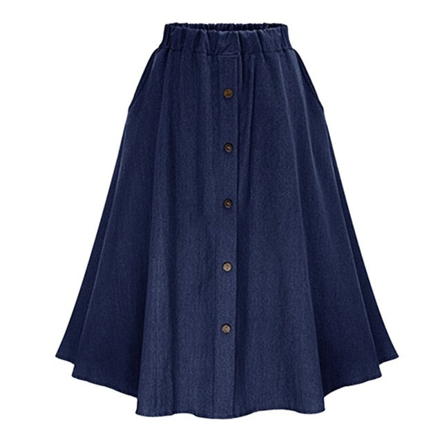 Fashion Korean Style Denim Skirts Women 2018 Solid Color Long Skirt Hight Waist Female Big Hem Casual Button Jean Skirt T6