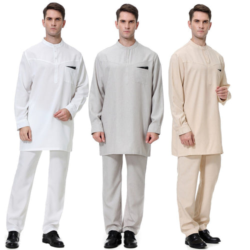 Men's Casual Arabism Long Sleeve Shirt Slim Fit Shirt Blouse Top+Pants
