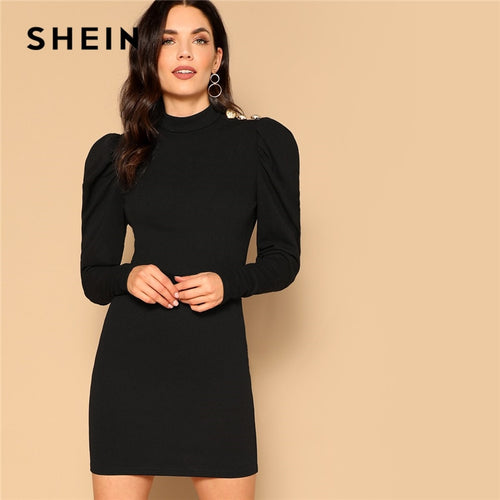 SHEIN Black Elegant Office Lady Mock-neck Gigot Sleeve Button Detail Pencil Solid Dress Autumn Modern Lady Women Bodycon Dresses