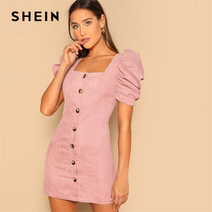 SHEIN Single Breasted Puff Sleeve Corduroy Fitted Short Sleeve Dress Going Out Autumn Modern Lady Elegant Party Women Dresses