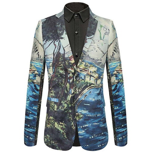 HeadBook Men's Trees Printing Groom Blazer Single Breasted Velvet Blazers Wedding Party Suit Jacket Tops 36852