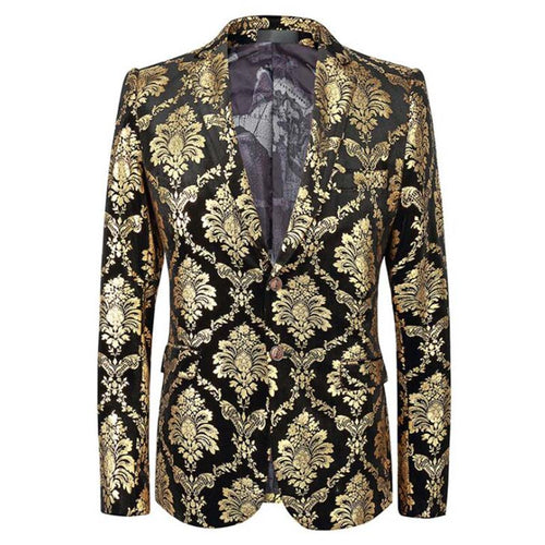 HeadBook Men's Golden Flowers Printing Casual Single Breasted Groom Velvet Blazers Wedding Party Suit Jacket Tops 136822