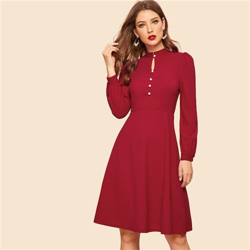 SHEIN Vintage Burgundy Button Front Fit And Flare Knee Length Dress Stand Collar Modern Lady Women A Line Dresses
