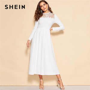 SHEIN White Lace Insert Zip Back Stand Collar Fit and Flare Mid Waist Maxi Dress Women Long Sleeve A Line Elegant Party Dresses
