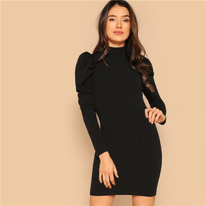 SHEIN Black Mock Neck Stand Collar Puff Sleeve Bodycon Short Dress Spring Women  Long Sleeve Solid Dresses