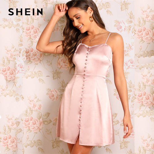 SHEIN Sexy Pink Zip Back Button Embroidered Satin Slip High Waist Mini Dress Women Summer Spaghetti Strap Flare Party Dresses