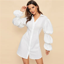 SHEIN White Gathered Sleeve Solid Shirt Sheath Short Dress Women 2019 Spring Plain Fit and Flare Puff Sleeve Party Dresses