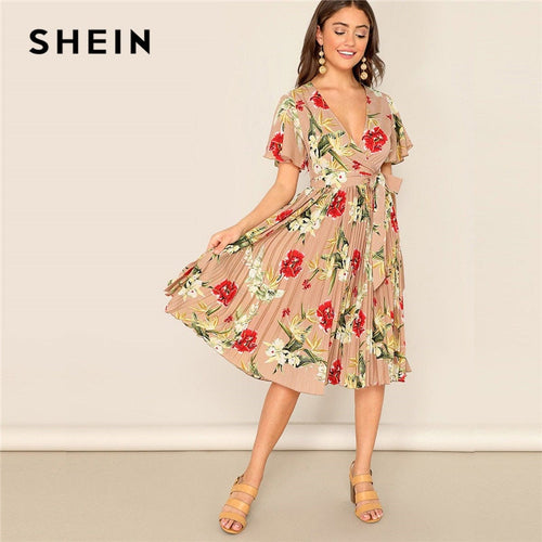 SHEIN Surplice Wrap Belted Floral Print V Neck  Butterfly Sleeve Women Elegant A Line Dress Ladies Short Sleeve Vacation Dresses