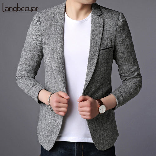 2019 New Fashion Brand Blazer Jacket Men Single Button Slim Fit Suit Coat Korean Black Dress Jacket Party Casual Men Clothes