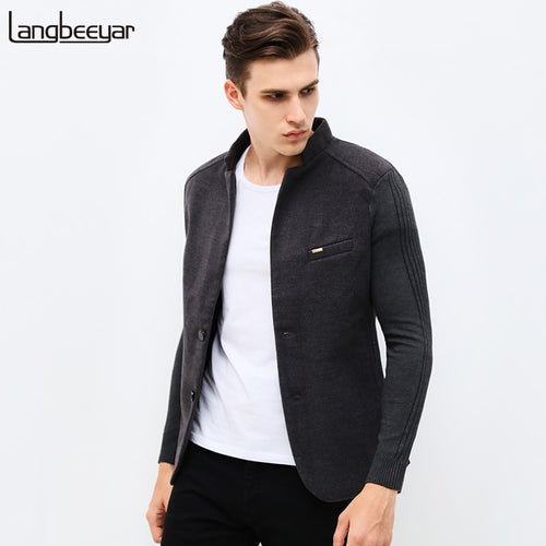 2019 New Autumn Winter Fashion Brand Unique Mens Blazer Jacket Woolen Casual Blazer Slim Fit Patchwork Sleeve Men Suit Jacket