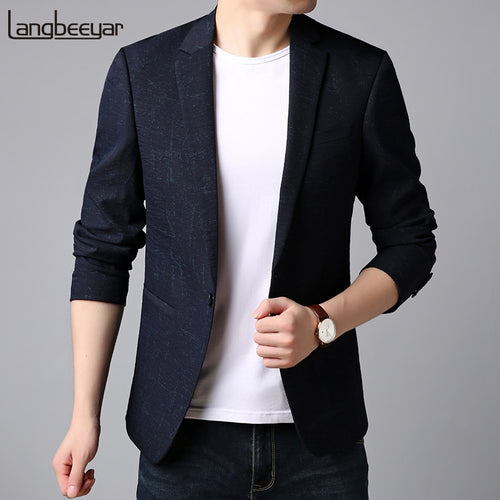 2019 New Fashion Brand Blazer Jacket Men's Navy Pattern Slim Fit Suit Coat Single Button Korean Party Dress Casual Man Clothes