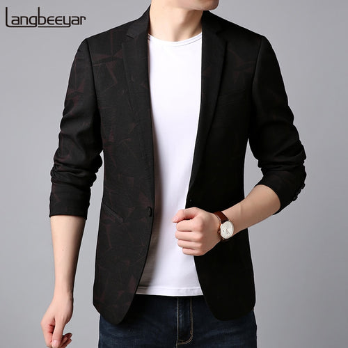 2019 New Fashion Brand Blazer Jacket Mens Korean Navy Single Button Slim Fit Suit Coat Party Clothes Floral Casual Men Clothing