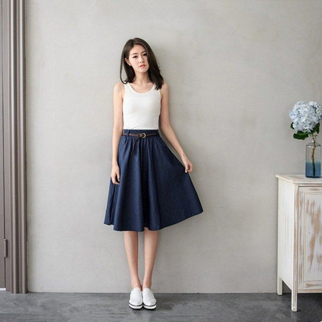 2019 Summer Denim Jeans Skirts Women A line Casual Belt Skirt High Elastic Waist Streetwear Midi Pleated Female Clothing