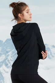 Zip Hoodie Snow Black - Yvette Sports