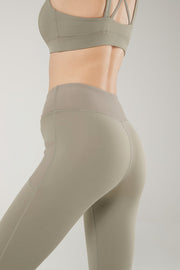 Leggings Rib Pocket Olive Green - Yvette Sports