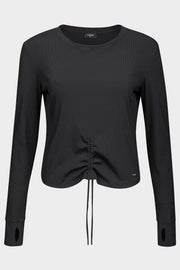 Longsleeve Soft Rib Black - Yvette Sports