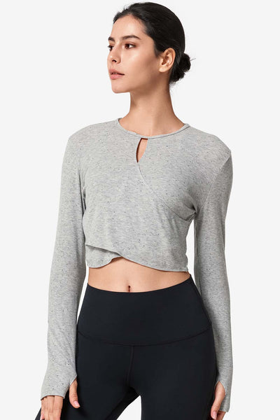 Crop Longsleeve Cross Light Grey - Yvette Sports