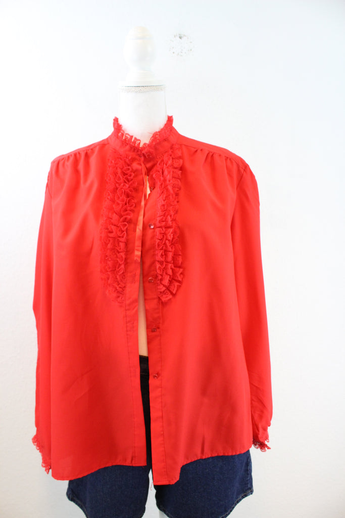 Vintage Red Ruffle Blouse (M) - Vintage & Rags Online