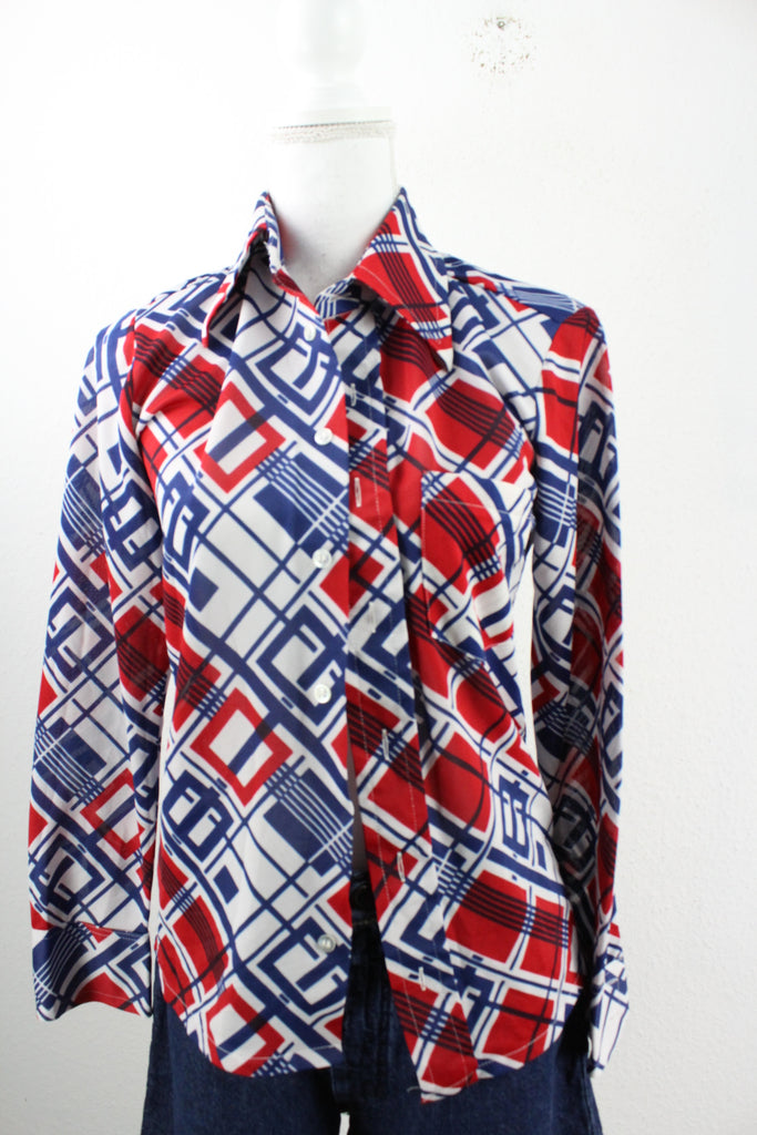 Vintage Red White & Blue Blouse (S) - Vintage & Rags Online